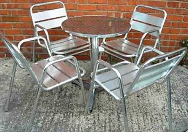 Poseur Table and Aluminium Chairs (Tall or Short Tables Available)