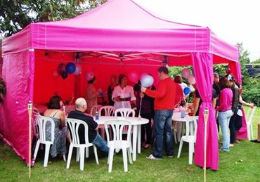 6m Pink Dome Marquee with Patio Tables and Chairs