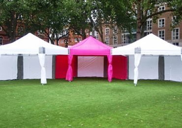 20ft x 60ft White and Pink Dome Marquees