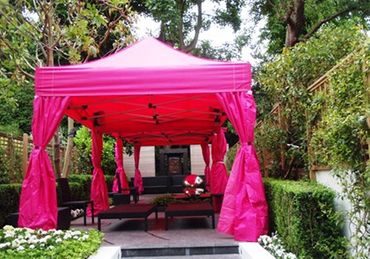 3m x 14m Pink Marquee with Drapes